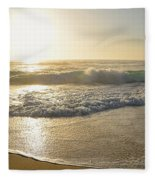 Pretty Waves At Glowing Sunrise By Kaye Menner Fleece Blanket