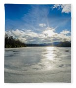 Price Lake Frozen Over During Winter Months In North Carolina Fleece Blanket