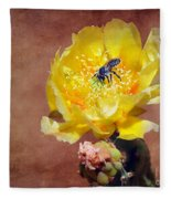 Prickly Pear And Bee Fleece Blanket