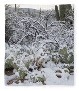 Prickly Pear And Saguaro Cacti Fleece Blanket