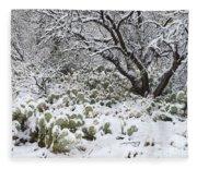 Prickly Pear Cactus And Mesquite Tree Fleece Blanket