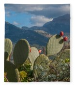 Prickly Pear Cactus And Mountains Fleece Blanket