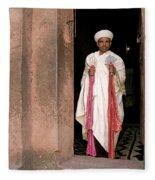Priest At Ancient Rock Hewn Churches Of Lalibela Ethiopia Fleece Blanket