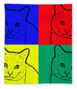 Primary And Green Cats Fleece Blanket