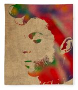 Prince Watercolor Portrait On Worn Distressed Canvas Fleece Blanket