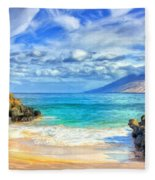 Private Beach At Wailea Maui Fleece Blanket