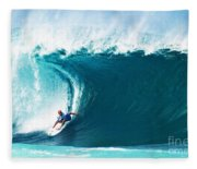Pro Surfer Kelly Slater Surfing In The Pipeline Masters Contest Fleece Blanket