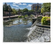 Promenade And Waterfall In Carroll Creek Park In Frederick Mary Fleece Blanket