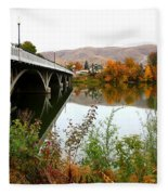 Prosser Bridge And Fall Colors On The River Fleece Blanket