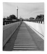 Prosser Bridge Perspective - Black And White Fleece Blanket