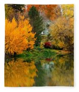 Prosser - Fall Reflection With Hills Fleece Blanket