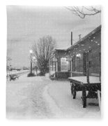 Prosser Winter Train Station  Fleece Blanket