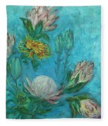 Protea Flower Study I Fleece Blanket