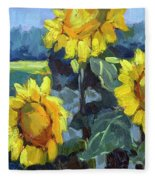 Provence Sunflower Trio Fleece Blanket