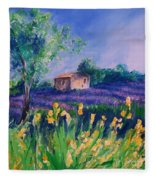 Provence Yellow Flowers Fleece Blanket