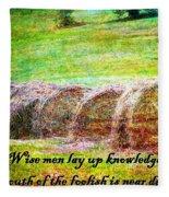 Proverbs 10 14 Fleece Blanket