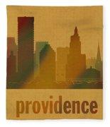 Providence Rhode Island City Skyline Watercolor On Parchment Fleece Blanket