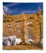 Prusik Peak Above Larch Grove Fleece Blanket