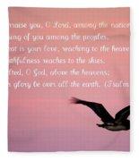 Psalm With Pelican And Pink Sky Fleece Blanket
