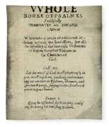 Psalms Hand Written Book Plate 1640 Fleece Blanket
