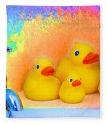 Psychedelic Ducks And Faucet Fleece Blanket