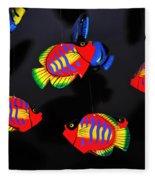 Psychedelic Flying Fish Fleece Blanket