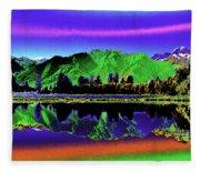 Psychedelic Lake Matheson Ner Zealand 3 Fleece Blanket