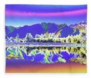 Psychedelic Lake Matheson New Zealand 2 Fleece Blanket