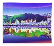 Psychedelic Lake Matheson New Zealand Fleece Blanket