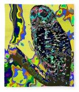 Psychedelic Owl Fleece Blanket