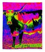 Psychedelic Texas Longhorn Fleece Blanket