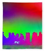 Psychedelic Vancouver Skyline Triptych Centre Fleece Blanket