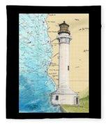 Pt Arena Lighthouse Ca Nautical Chart Map Art Cathy Peek Fleece Blanket