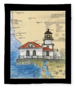 Pt Bonita Lighthouse Ca Nautical Chart Map Art Fleece Blanket