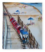 Pt Pleasant Nj Sand Train Fleece Blanket