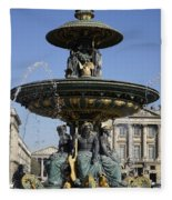 Public Fountain At The Place De La Concorde In Paris France Fleece Blanket