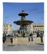 Public Fountain At The Place De La Concorde Fleece Blanket