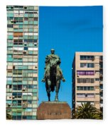 Public Statue Of General Artigas In Montevideo Fleece Blanket