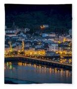 Puentedeume View From Cabanas Galicia Spain Fleece Blanket