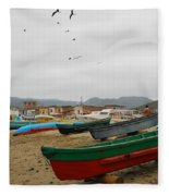 Puerto Lopez Beach And Boats Fleece Blanket