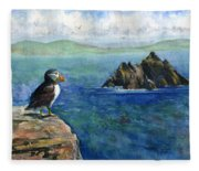 Puffin At Skellig Island Ireland Fleece Blanket