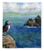 Puffin At Skellig Island Ireland Fleece Blanket