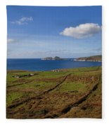 Puffin Island From The Skelligs Ring Fleece Blanket