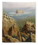 Puffins On Lundy Island Oil On Canvas Fleece Blanket
