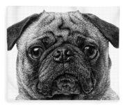 Pug Dog Black And White Fleece Blanket