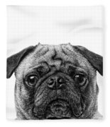 Pug Dog Square Format Fleece Blanket