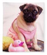 Pug Puppy Bath Time Fleece Blanket