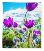 Pulsatilla Vulgaris Flowers Fleece Blanket