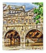 Pulteney Bridge Bath Fleece Blanket by Paul Gulliver