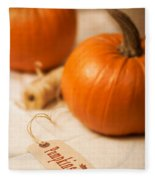 Pumpkin Label Fleece Blanket